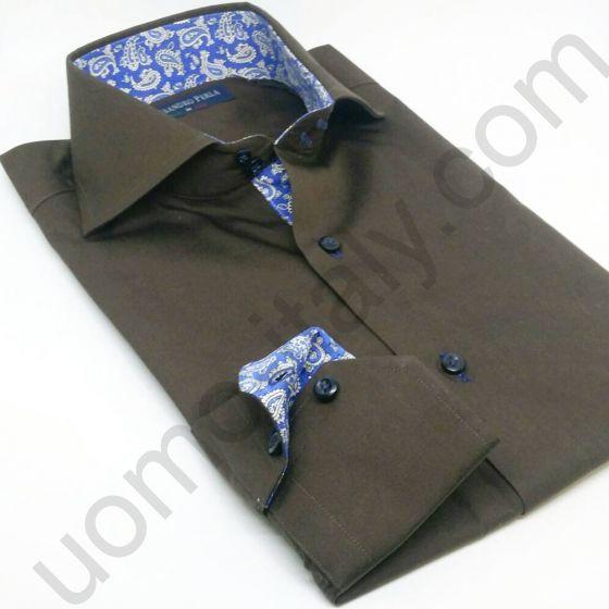 Рубашка мужская коричневая с голубым контрастом (арт.shine 23)