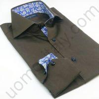 Рубашка мужская коричневая с голубым контрастом (последний размер 39)(арт.shine 23)