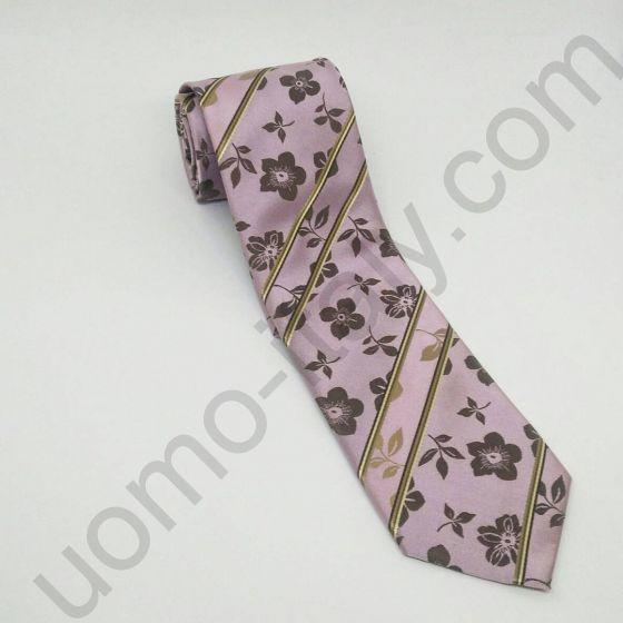 галстук розовый в коричневый цветок