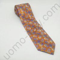 галстук оранжевый в сиреневый цветок