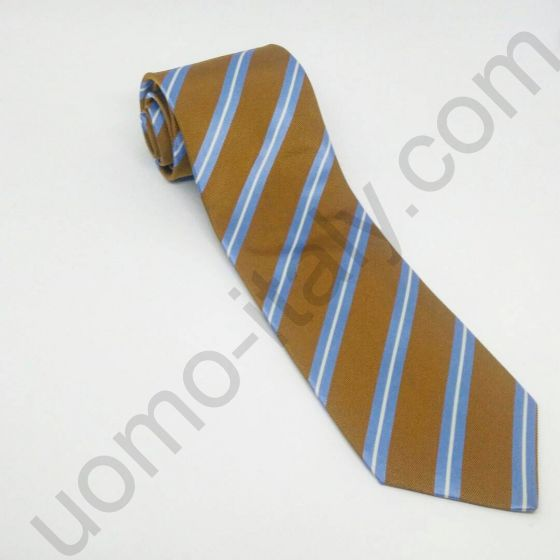 галстук кирпичный в голубую полоску