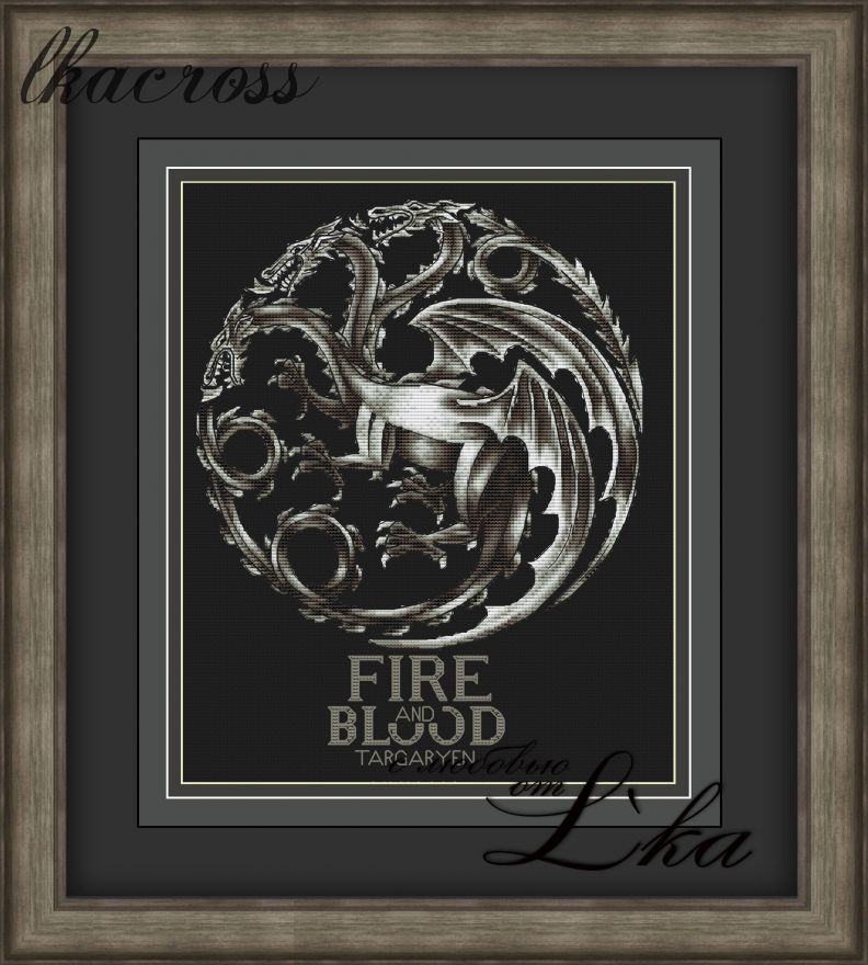"""Fire and Blood"". Digital cross stitch pattern."