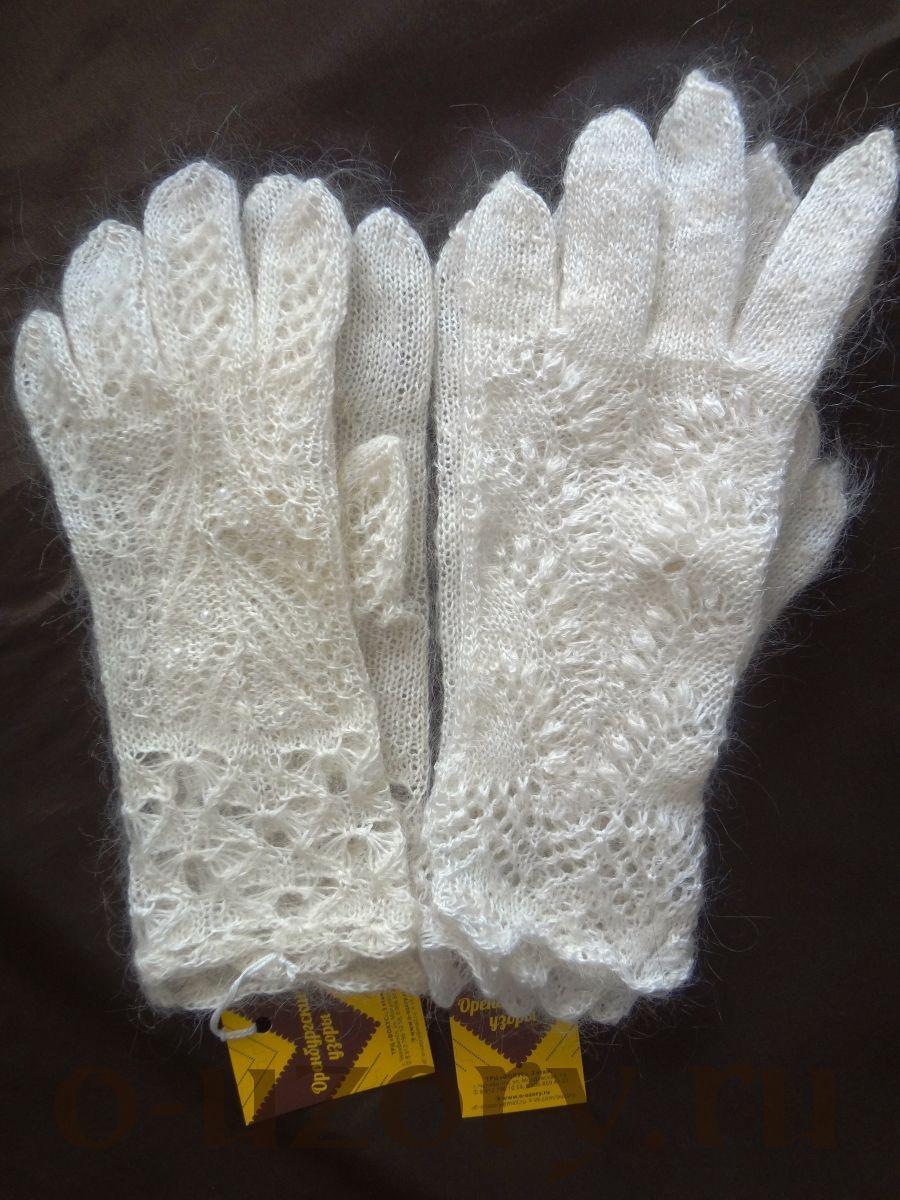 Перчатки пуховые ажурные