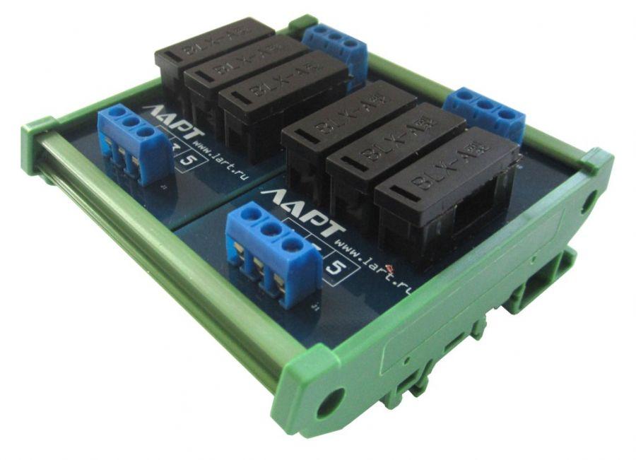 Выносной блок предохранителей на DIN рейку LF6-6.