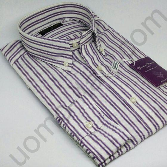 Мужская итальянская рубашка Giovanni Rosmini в фиолетовую полоску(новинка) арт. 441N.