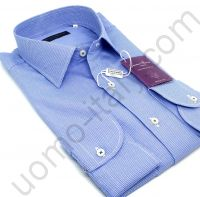 """Мужская итальянская рубашка Giovanni Rosmini синея """"в лапку""""(451C)"""