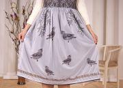 Верхний слой юбки из легкого нейлона с авторским акварельным принтом Свиристели.