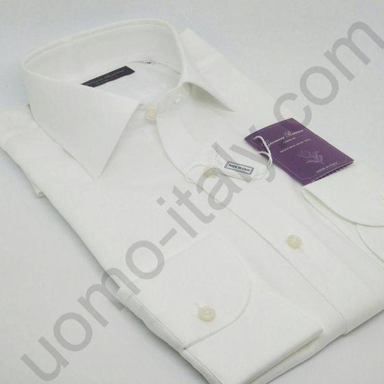 Мужская рубашка Giovanni Rosmini белая двойного плетения (435C)