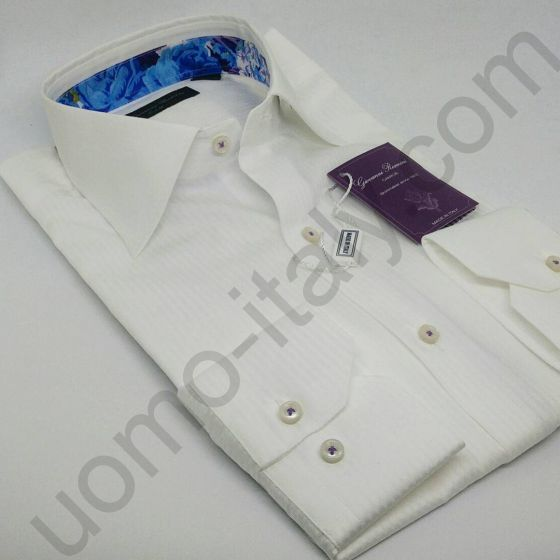 Мужская рубашка Giovanni Rosmini белая с контрастом (462F)