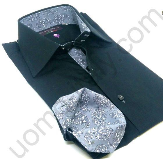 Рубашка мужская черная с серым контрастом (последний размер 39) арт.099-03