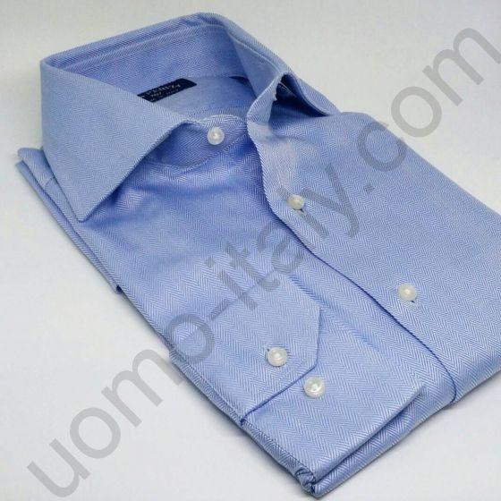 """(арт.0009) Рубашка голубая """"в елочку"""""""