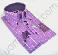 Рубашка сиреневая в полоску на 5 пуговицах
