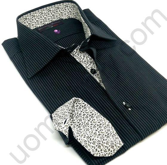 Рубашка мужская черная в белую полоску (последний размер 40) арт.Master 58