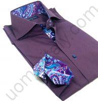 Рубашка мужская темно-сиреневая с ярким контрастом арт.Shine 14