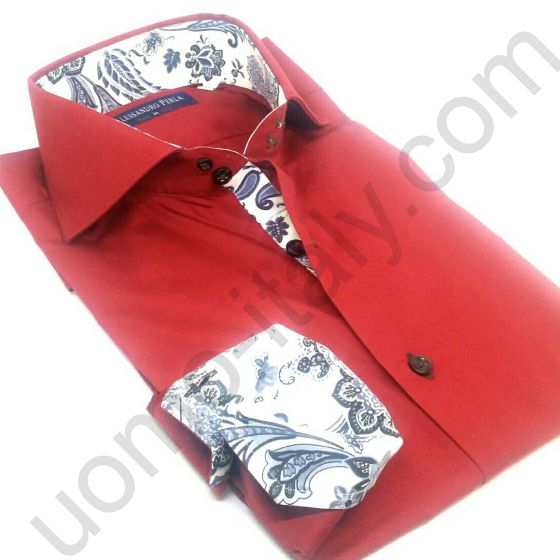 Рубашка мужская Alessandro Perla красная с контрастом (арт.Shine 19)