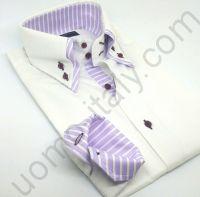 (арт.0016) Рубашка белая с двойным воротником в полоску (последний размер 39)