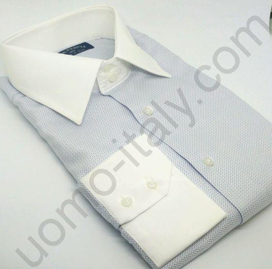(арт.0014) Рубашка голубая с белым воротником
