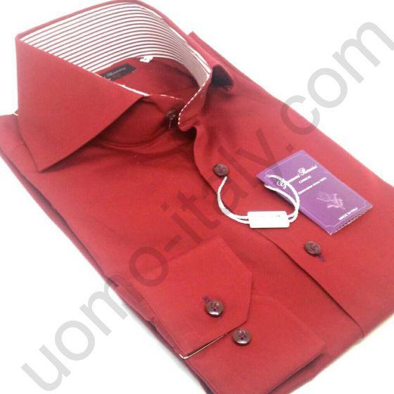 (арт.93158) Рубашка красная контраст в полоску (последний размер 41)
