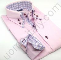(арт.0017) Рубашка Розовая с двойным воротником (последний размер 39)