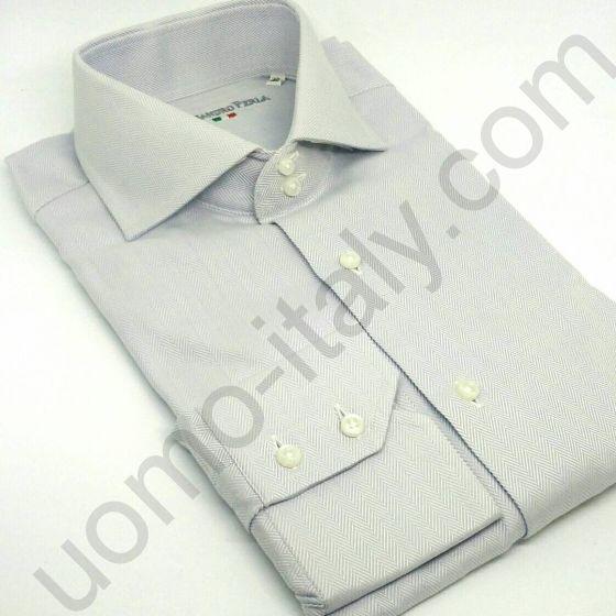 """(арт.0032) Рубашка серая """"в елочку"""" ( последний размер 40)"""