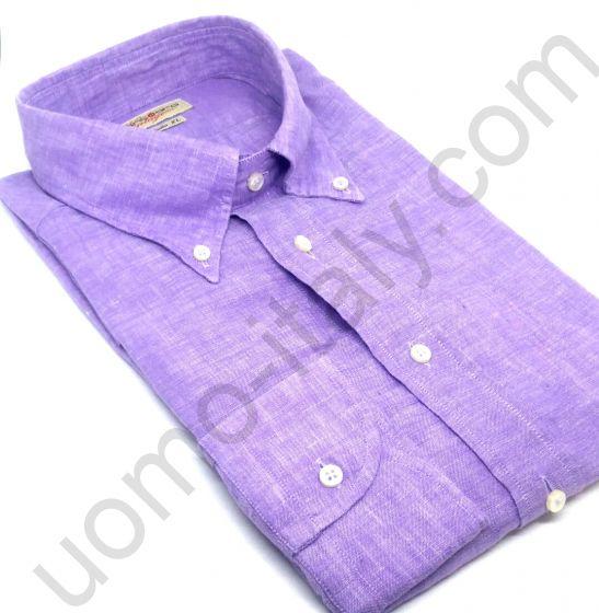 Рубашка Bianco Oro лен сиреневый