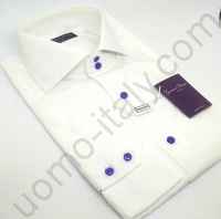 Рубашка на свадьбу Giovanni Rosmini белая с сиреневой розой