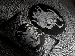Чёрно-белое индийское покрывало на кровать (Москва)