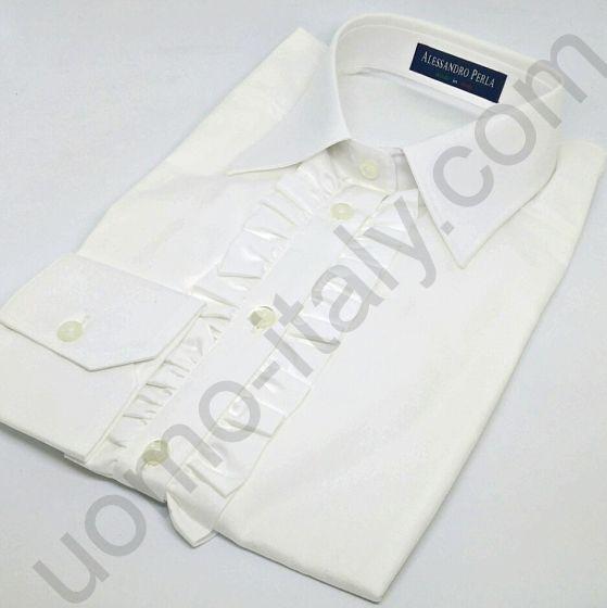 (арт.0021) Женская блузка Alessandro Perla белая с жабо (последний размер 50(l))