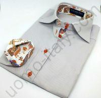 (арт.0037) Женская блузка Alessandro Perla серая с оранжевыми пуговицами