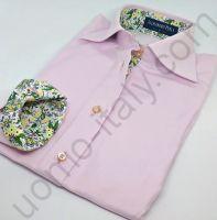 """(арт.1004) Женская блузка розовая """"в рубчик"""" с зеленым контрастом"""