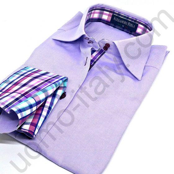 (арт.0013ж) Женская блузка Alessandro Perla сиреневая под запонку