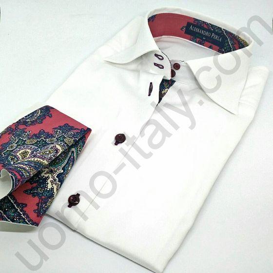 (арт.594-1) Женская блузка белая под запонку с красным контрастом