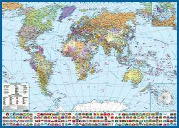 Политическая карта мира с флагами. Крым в составе РФ - карта для новорожденного по системе п.в. Тюленева
