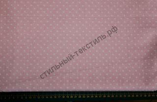 Белый горох 0,5 см на розовом (польский хлопок)