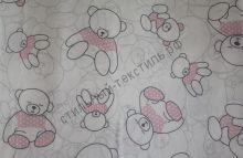 Мишки в розовом свитерке на белом (польский хлопок)