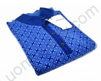 (Новинка) Кофта синяя на пуговицах в голубой квадратик (последний размер 46)