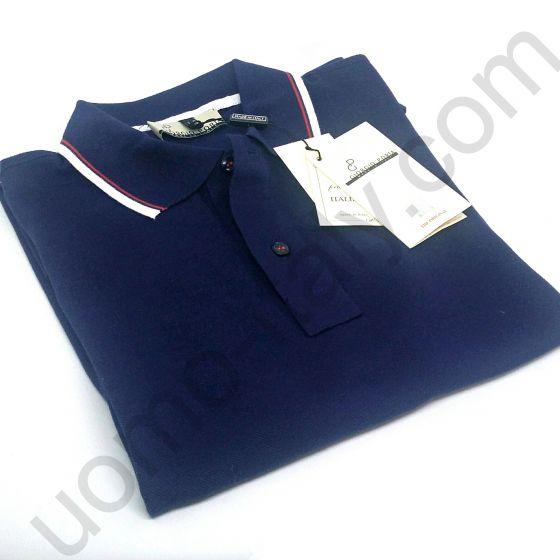 Поло короткий рукав синее с бело-красной полоской на воротнике