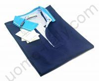 Рубашка-поло Giorgio Porta короткий рукав синяя с голубым воротом ( последний размер 52 )