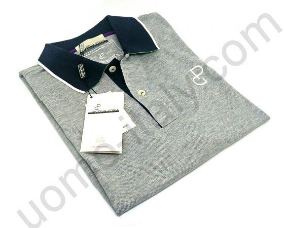 Рубашка-поло Giorgio Porta короткий рукав серая с черным воротом ( последний рукав 52 )