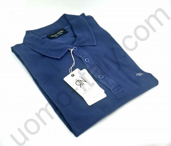 Мужская рубашка-поло Riserva Nazionale короткий рукав синяя.