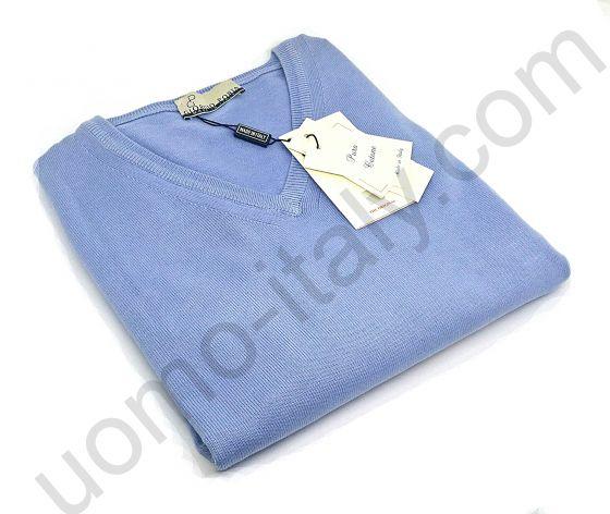 (арт.12601st(azzurro)) Джемпер Giorgio Porta голубой с V-образным вырезом (последний размер 52)