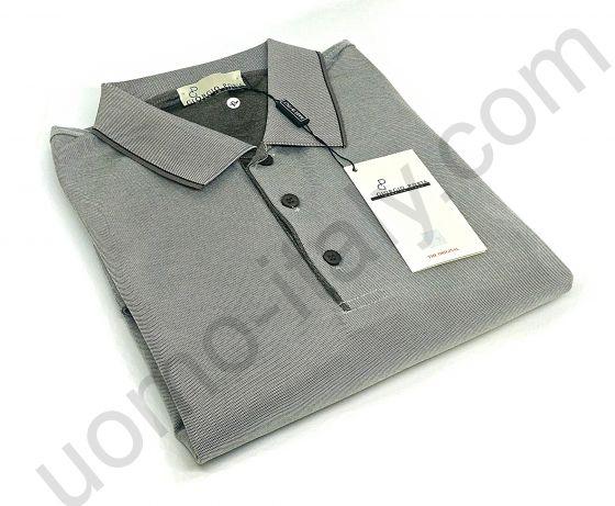 Мужская рубашка-поло Giorgio Porta  с длинным рукавом серо-коричневая