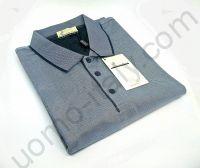 Мужская рубашка-поло Giorgio Porta  с длинным рукавом серо-синяя