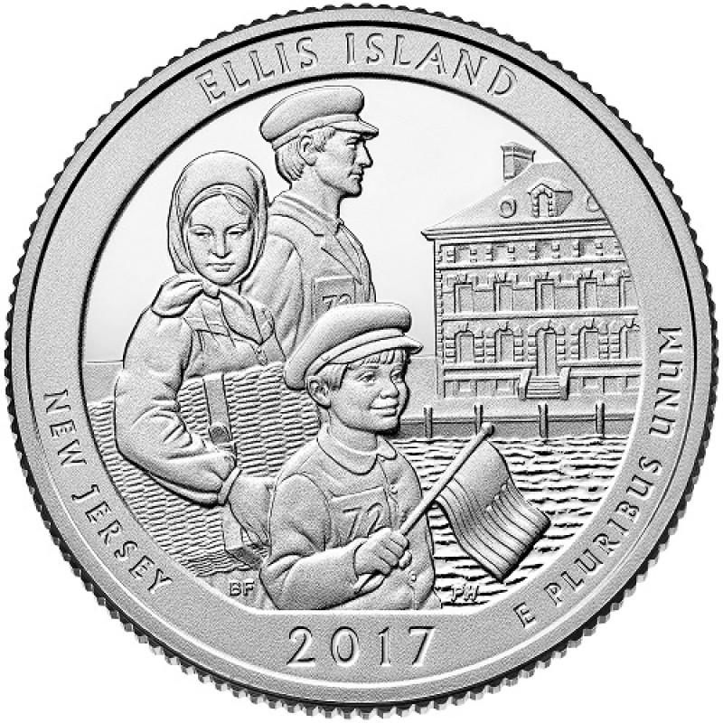 """25 центов 2017г. 39-й парк """"Остров Эллис (Ellis Island)"""""""