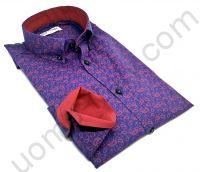 """Мужская рубашка синяя с красным контрастным контрастом и красными """"огурцами""""."""