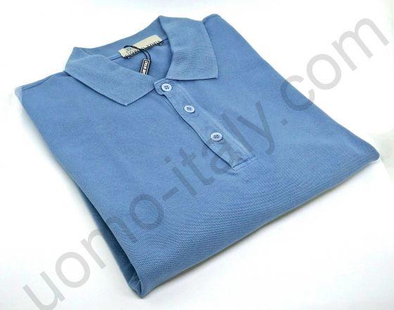 Рубашка-поло Giorgio Porta короткий рукав серо-голубая