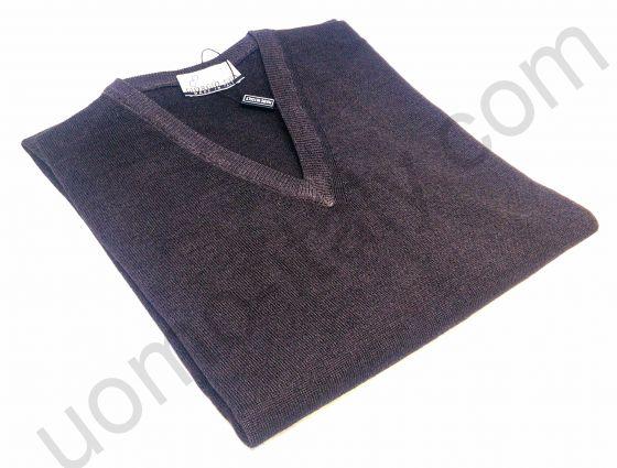 Джемпер шерсть V-образный вырез коричневый (последний размер 50)