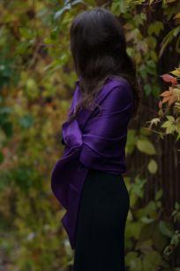 Фиолетовый палантин из шерсти с кашемиром (Москва)