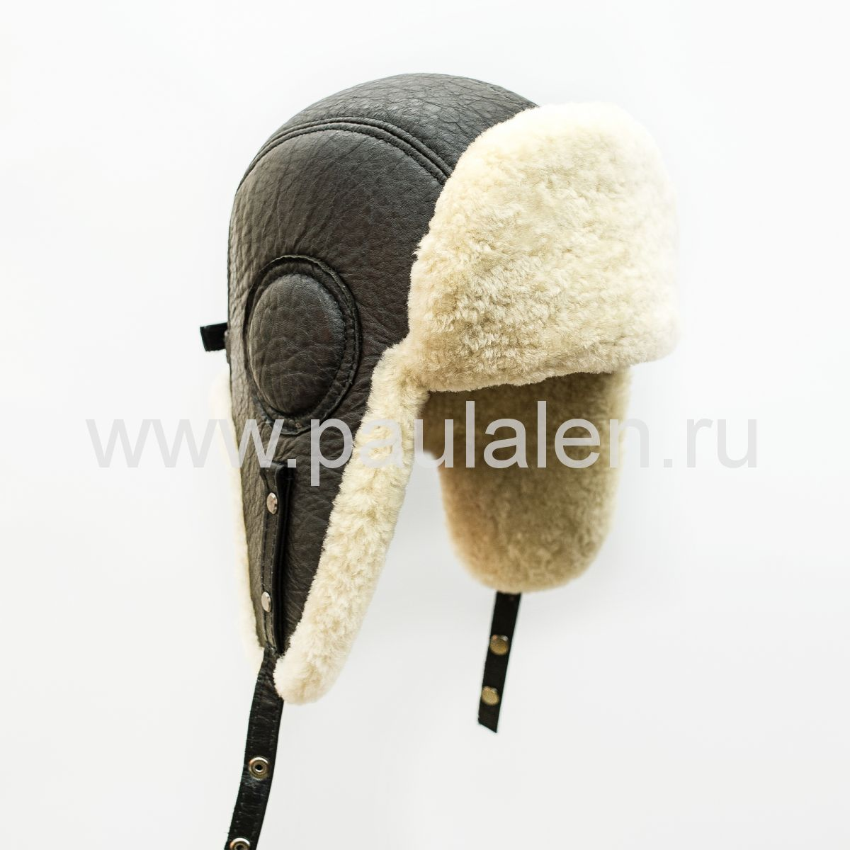 Шлем Авиатор мужской, из натуральной кожи и овчины B020
