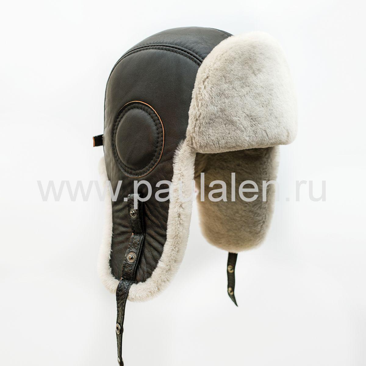 Шлем Авиатор мужской, из натуральной кожи и овчины B027